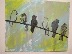 Birds on a Wire acrylic painting on 16X20 canvas by JenAlyseArt, $80.00