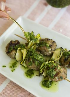 Turkey Koftas with Zucchini Ribbons & Chimichurri by camillestyles #Meatballs #Skewers #Turkey #Zucchini