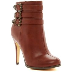 Michael Antonio Lees Stiletto Bootie ($37) ❤ liked on Polyvore featuring shoes, boots, ankle booties, ankle boots, cognac, cognac boots, ankle strap boots, round toe ankle boots, buckle booties and short boots
