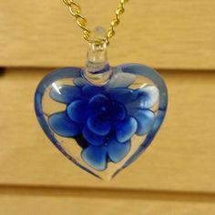 Murano Glass Pendant - Lampwork Glass - Heart Shape - Flower Inside - 30x33mm - Free Chain by GailsGiftHut on Etsy