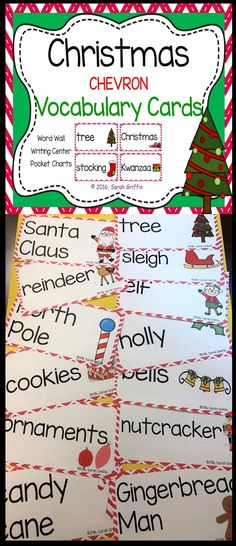 Christmas Picture and Word Cards Winter Activities, Christmas Activities, Kindergarten Christmas, Kindergarten Themes, Vocabulary Word Walls, Vocabulary Cards, Christmas Pictures, Christmas Cards, Illustrated Words