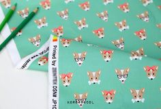 Dog fabric Dog pattern 44x35 100% Cotton 20s woven by KoreaBacol