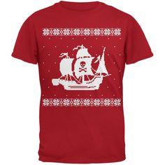 Old Glory Skull and Crossbones Santa Red Adult Crew Neck Sweatshirt