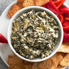 Spinach-Parm Dip | more healthy game day snacks: http://www.bhg.com/recipes/healthy/snacks/heart-healthy-game-day-snacks/#page=4 #myplate