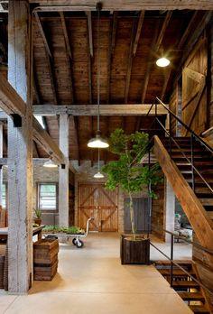 Traditional modern loft design. Home renovation inspiration idea. Exposed reclaimed wood.