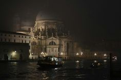 The Salute church in Venice on a foggy evening