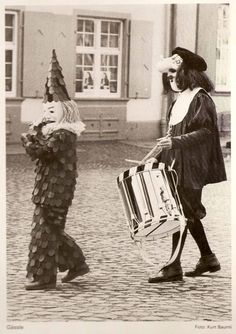 """1979    From the back of """"Fasnacht 1979,"""" an LP I picked up at a local book sale this weekend. Fasnacht is basically Fat Tuesday in Switzerland, and I guess they celebrate it by having scary clowns and such play in a marching band.  (viaohrochester)"""