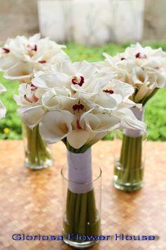 White Calla lilies and white Cymbidium Orchid