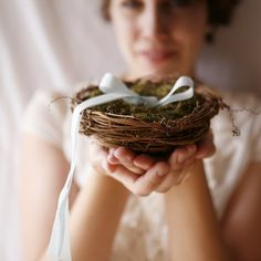 twig nest and moss ring bearer pillow woodland by whichgoose