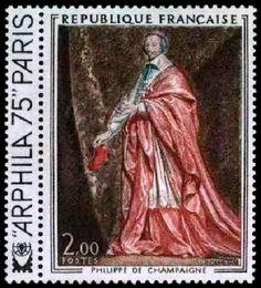 timbres de france/timbre france 1973 - 1766 - Cardinal de Richelieu, tableau de Philippe de Champaigne - Serie oeuvres d art.jpg