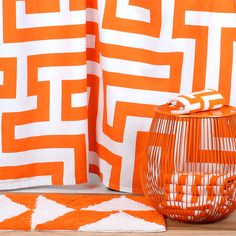 Meander Shower Curtain Orange