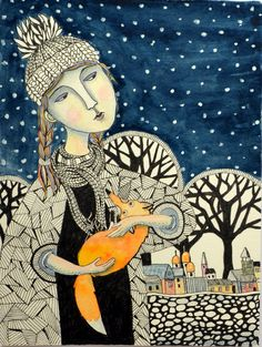 Irina Soroka Girl Fox Original Painting 6 x 8 by irinashop on Etsy Art Asiatique, Fox Art, Naive Art, Children's Book Illustration, Whimsical Art, Illustrators, Fantasy Art, Artwork, Art Drawings