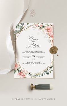 Wedding Invitation Background, Wedding Invitation Video, Spring Wedding Invitations, Beautiful Wedding Invitations, Floral Invitation, Wedding Invitation Templates, Wedding Stationery, Rose Wedding, Floral Wedding