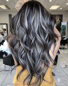Brown Hair With Silver Highlights, Grey Brown Hair, Brown Hair Balayage, White Highlights, Burgundy Hair, Caramel Highlights, Peekaboo Highlights, Dark Hair Blonde Highlights, Brown And Silver Hair