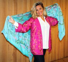 Chaqueta de seda y fular o chal e seda reversibles Julunggul Silk shawls. silk scarves. silk jackets www.julunggul.com