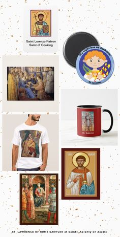 Just 7 of the images of St. Lawrence of Rome featured in one of our Samplers at Saints_Aplenty on Zazzle!  Use our Samplers as guides to the many Zazzlers producing a wide variety of items featuring saints for your home-decorating and gift-giving needs!