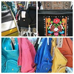 Checking out great items at the local farmers market that could be great for Sugar N Spice Services Boutique. Check out the fun unique designs on these bags & colorful purses.