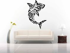 Wall Room Decor Art Vinyl Sticker Mural Decal Pattern Poster Design Styling Interior Pictures Tribal Tattoo Pattern Ocean Shark Fish FI497