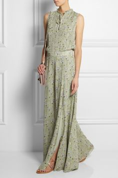 Tory Burch|Fern floral-print silk-crepe maxi dress|K Jacques St Tropez | Metallic leather sandals | Valentino | Va Va Voom leather shoulder bag |