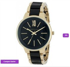 RELÓGIO ANNE KLEIN WOMEN'S AK1412BKGB GOLD-TONE AND BLACK DRESS WATCH #RELÓGIO #ANNE KLEIN