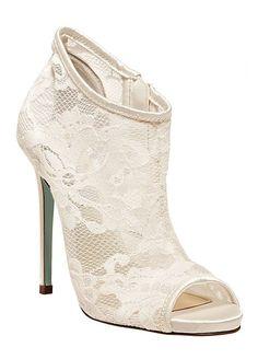 fdd4cbc5606dc7 David s Bridal Wedding  amp  Bridesmaid Shoes Betsey Johnson High Heel Peep  Toe Lace  DavidsBridal