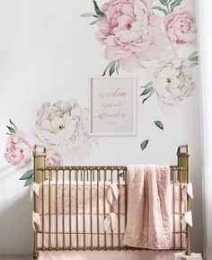 Peony Flowers Wall Sticker - Vintage Pink - by Simple Shapes: Amazon.ca: Home & Kitchen