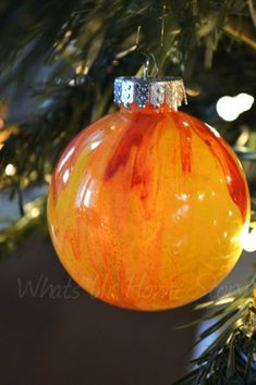 Whats Ur Home Story: Paint Swirled Ornament, Painted Clear Ornaments