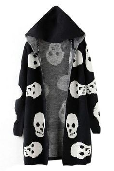 abaday   Skull Knitted Hooded Long Sleeves Black Cardigan, The Latest Street Fashion