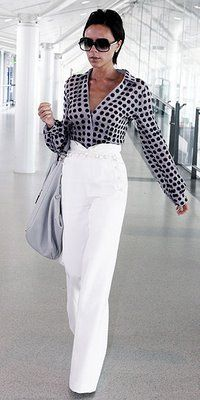 Loewe Warm White Canvas Sailor pants and Posder Silk Shirt with black dot - both from Spring RTW collection