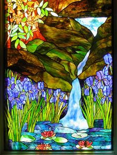 "stained glass landscape | LANDSCAPE"" STAINED GLASS SCENIC WINDOW WITH TREES, WATERFALL, IRISES ..."