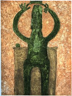 Personage en verde, by Rufino Tamayo, embossed etching on Guarro paper. Please inquire for more details.