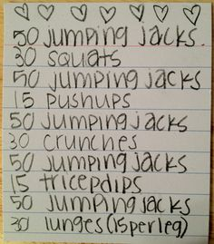 Do this 2 times and you'll have 500 jumping jacks. Remember: 7000 jumping jacks=1 pound EASY WAY TO LOSE A POUND A WEEK. (: