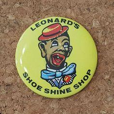 "Vtg BLACK AMERICANA SHOE SHINE BOY 2"" Pocket Mirror ~ Leonard's Shoe Shine Shop #LeonardsShoeShineShop #Mirror #BlackAmericana"