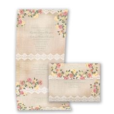 Floral and Lace Seal and Send Wedding Invitation - Economical, Orange at Invitations By David's Bridal