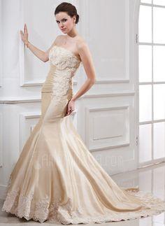 Mermaid Strapless Court Train Taffeta Wedding Dress With Ruffle Lace Beadwork (002000059)