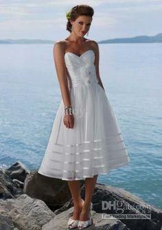 Wholesale Wedding Dress - Buy 2012 Gorgeous Tulle Sweetheart Flower Tea-length A-line Beach Wedding Dress, $399.73   DHgate