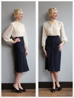 1940s Skirt // Speckled Navy Wool Pencil Skirt by dethrosevintage