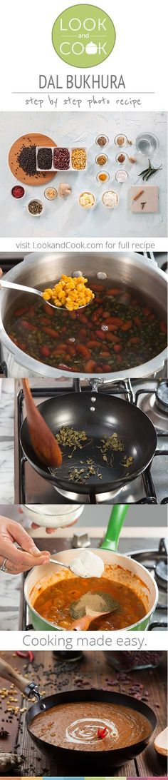 ig: alliieebabee // DAL BUKHARA RECIPE DAL BUKHARA RECIPE A dish, very similar to the popular Dal Makhani, this recipe is made of indian Black lentils, kidney beans & channa dal with spices & cream added for richness. Lentil Recipes, Veg Recipes, Curry Recipes, Vegetarian Recipes, Cooking Recipes, Recipies, North Indian Recipes, Indian Food Recipes, Comida India