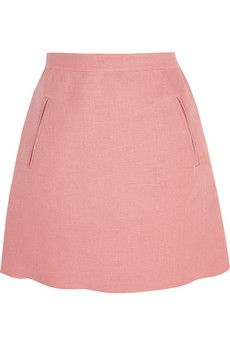 Baby-pink linen Concealed hook and zip fastening at side linen; A Line Mini Skirt, Mini Skirts, Jennifer Fisher, Skirt Pants, Shorts, Top Designer Brands, Bag Accessories, Valentino, Feminine
