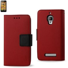Reiko Wallet Case 3 In 1 For Alcatel One Touch Fierce 7024W Red With Black Interior Leather-Like Material And Polymer Cover