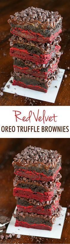 Red Velvet Oreo Truf Red Velvet Oreo Truffle Brownies. These are total heaven in…