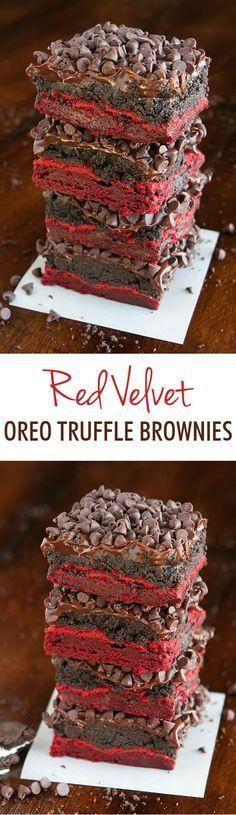 Red Velvet Oreo Truf Red Velvet Oreo Truffle Brownies. These are total heaven in…