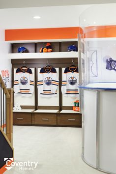 Coventry Homes Oilers Fan Cave - Uplands Showhome Cool Basement Ideas, Garage Ideas, Coventry Homes, Edmonton Oilers, Cave, New Homes, Cool Stuff, Caves