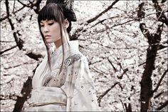 white kimono with cherry blossoms