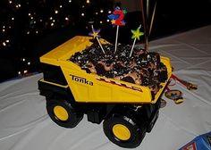 Dump truck cake for boy's birthday. Such a cute idea!