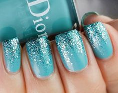 Blue Ombre Glitter nail art design ~ Dior: Saint Tropez (is a vibrant turquoise creme) with Nails Inc. Hammersmith glitter on the tips. ***I wonder if this is how Elsa's nails look? Love Nails, How To Do Nails, Fun Nails, Sparkle Nails, Gradient Nails, How To Ombre Nails, Fading Nails, Gel Ombre Nails, New Year's Nails