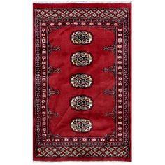 Herat Oriental Pakistani Hand-knotted Bokhara / Ivory Rug