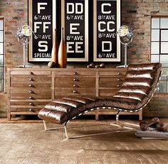 Oviedo Chaise Vintage Cigar Leather. Unbelievably comfy; $1975 at Restoration Hardware.