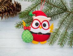 Christmas owl ornament Decorative owl Cute stuffed owl Santa Christmas tree ornament Hohoho Christmas gift Nursery decor Stuffed toy by BrightTalesByKvitka on Etsy https://www.etsy.com/listing/399283081/christmas-owl-ornament-decorative-owl