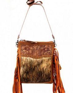 Brown Tooled Hair On Hide Fringe Messenger Bag